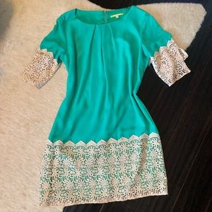 Teal and Cream detailed dress